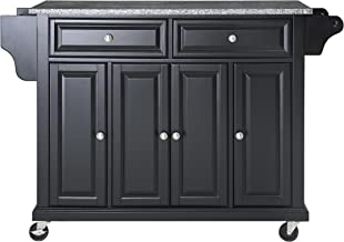 Crosley Furniture Rolling Kitchen Island with Solid Grey Granite Top, Black