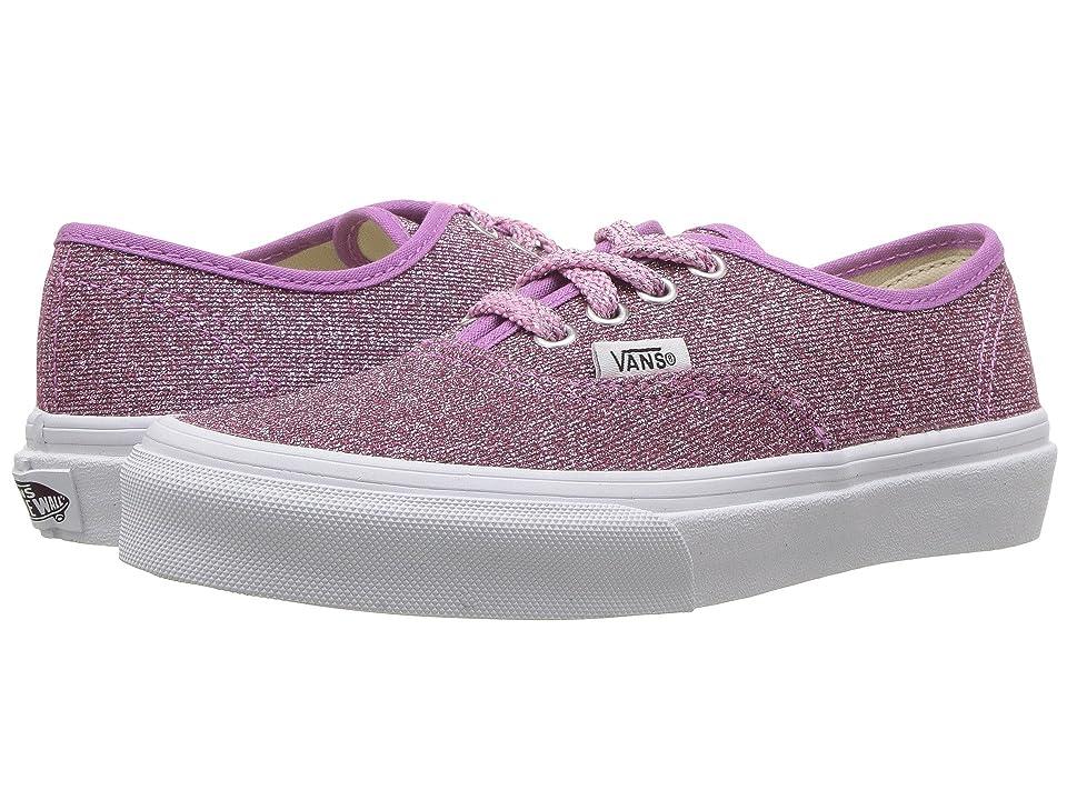 Vans Kids Authentic (Little Kid/Big Kid) ((Lurex Glitter) Pink/True White) Girls Shoes