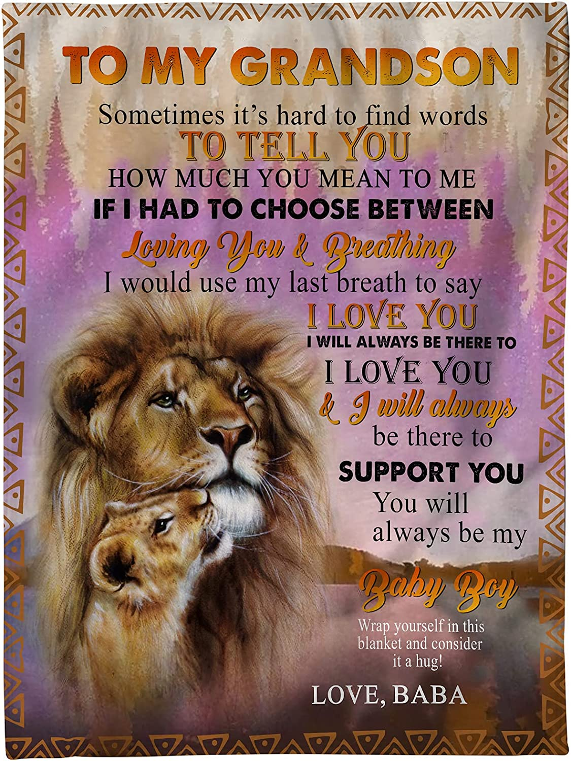 Personalized Blanket-to My Grandson Lion Love You New York Mall Indianapolis Mall Always Support