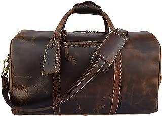 Vintage Buffalo Hide Duffel Bag | Sports Gym Training Fitness Handbag Duffel | Weekend Travel Flight Aircabin Carry-on Luggage Bags For Men Women, 20 Inch (Chocolate Brown)