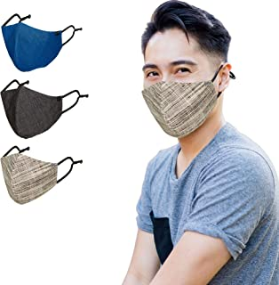 Young Threads Denim Men's Fashion Face Masks 3 Layard with Nose Wire Adjustable Ear Loop- Pack of 3