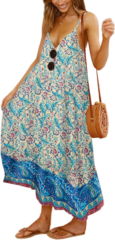 Angashion Women's Dresses Floral Adjustable Spaghetti Strap V Neck Boho Long Maxi Dress Summer Beach Flowy Ethnic Sundress
