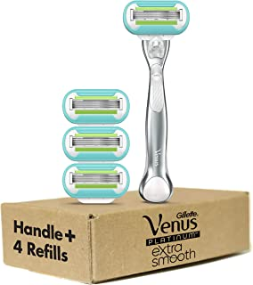 Gillette Venus Platinum Extra Smooth Metal Handle Women's Razor, Handle + 4 Blade Refills