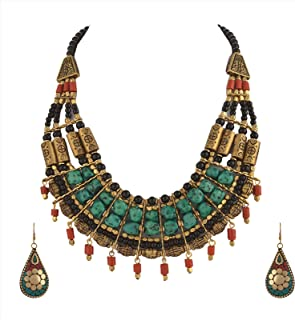 Zephyrr Fashion Junk Handmade Tibetan Multi Strand Choker Necklace Earrings Set