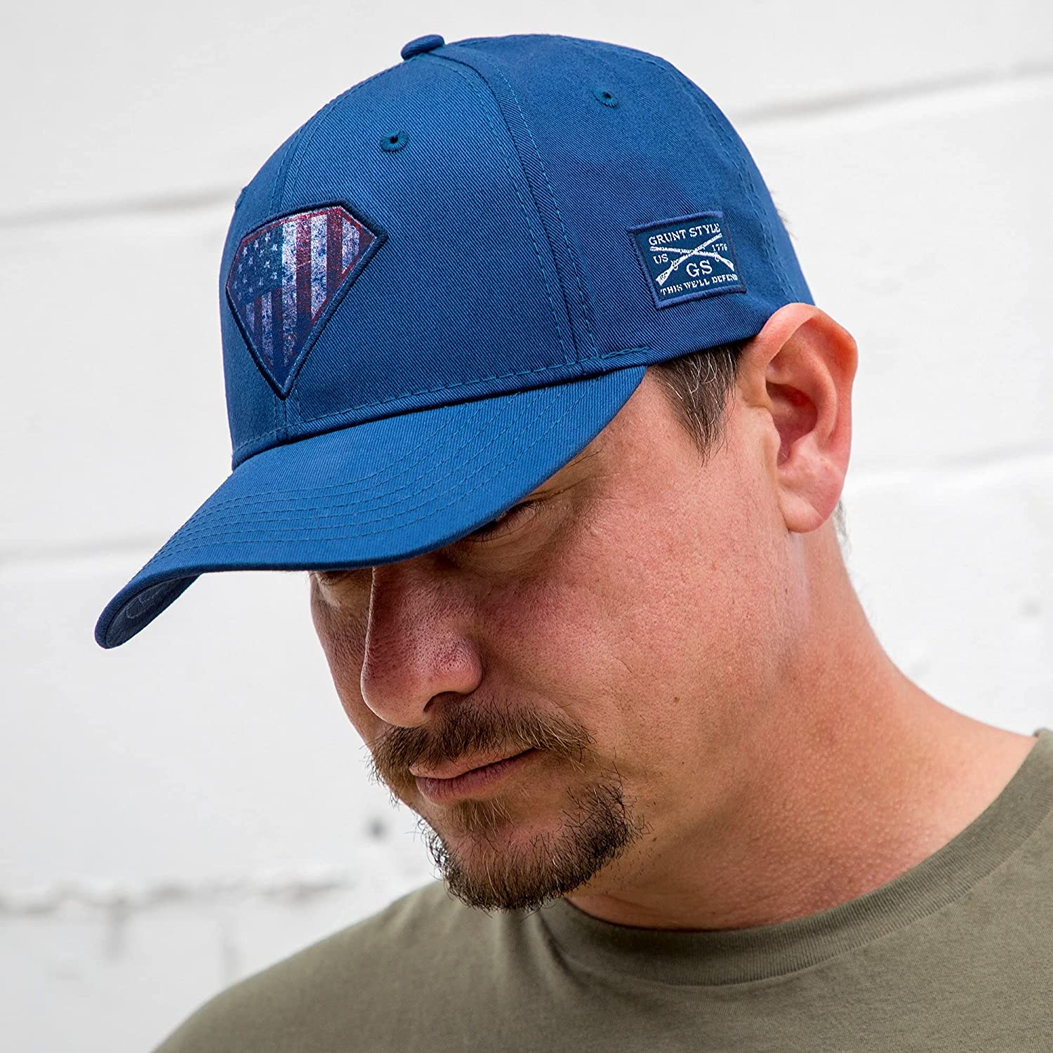 Grunt Style Super Patriot 2.0 Hat (Blue Chino, One Size)