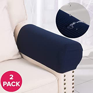 Larvinhom Armrest Covers Anti-Slip Waterproof Furniture Protector Armchair Slipcovers for Recliner Sofa Set of 2(Navy)