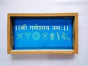 Swadha Creations Shri Ganeshay Namah Wooden Rangoli Stencil for Floor Rangoli Decoration Home Decoration 5 x 9 Inches