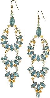 Abbott Collection 51-OPALINE-EA-5416 Aqua Gem Chandelier Earrings-4.5