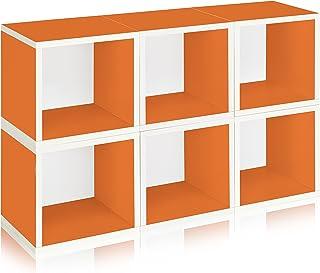 Way Basics Eco Stackable Modular Storage Cubes Cubby Organizer (Set de 6 Unidades). Naranja (Montaje sin Herramientas y procesamiento único de cartón zBoard sostenible, no tóxico).