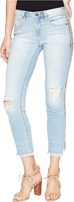 Mid-Rise Ankle Straight Jeans in Light Blue
