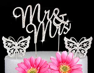 Set of THREE Crystal Rhinestone Cake Topper Wedding Monogram Mr & Mrs diamante Bling Inital Cake Decoration And Butterfly toppers