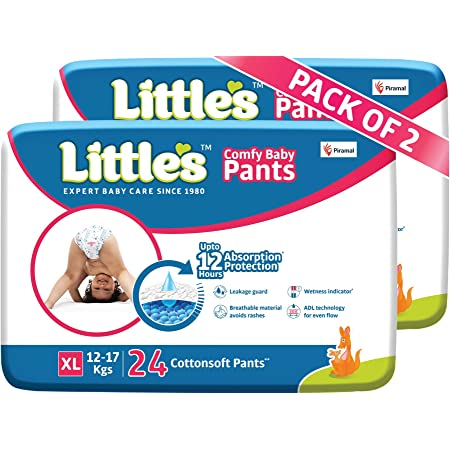 Little's Baby Pants Diapers with Wetness Indicator and 12 Hours Absorption, Extra Large (XL), 12-17 kg, 48 Count