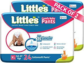 Little's Baby Pants Diapers with Wetness Indicator and 12 Hours Absorption, Extra Large (12 - 17 kg), 48 Count