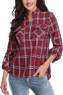 Akalnny Maglie a Manica Lunga da Donna Casual Camicia in Cotone a Quadri Sciolto V Collo Camicetta Classico Tasca Blusa