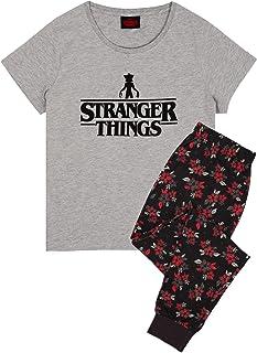 Stranger Things Pyjamas For Women | Short OR Long Leg Bottom Options PJs | Grey T-Shirt & Demogorgon Flower Lounge Trouser...