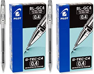 Pilot G-Tec-C Ultra Fine Black 0.4mm Rollerball Pen 2 Dozen [Office Product]