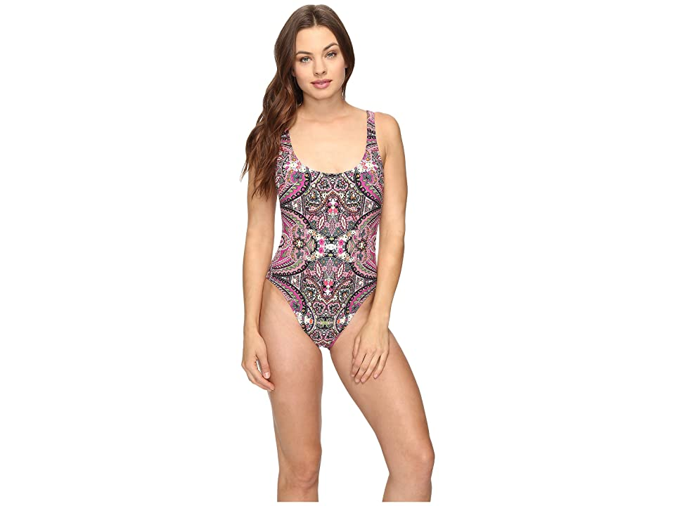 Lucky Brand Tapestry High Leg Tank Maillot One-Piece (Raspberry) Women