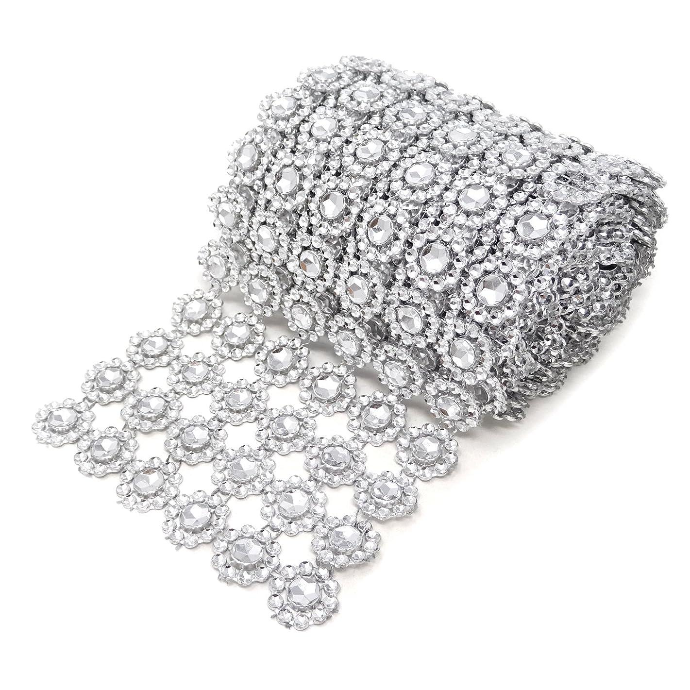 Honbay 4 Inch x 2 Yards Sparkling Silver Flower Shape Diamond Mesh Wrap Roll Faux Crystal Rhinestone Mesh Ribbon for Wedding, Birthday, Baby Shower, Arts & Crafts,etc