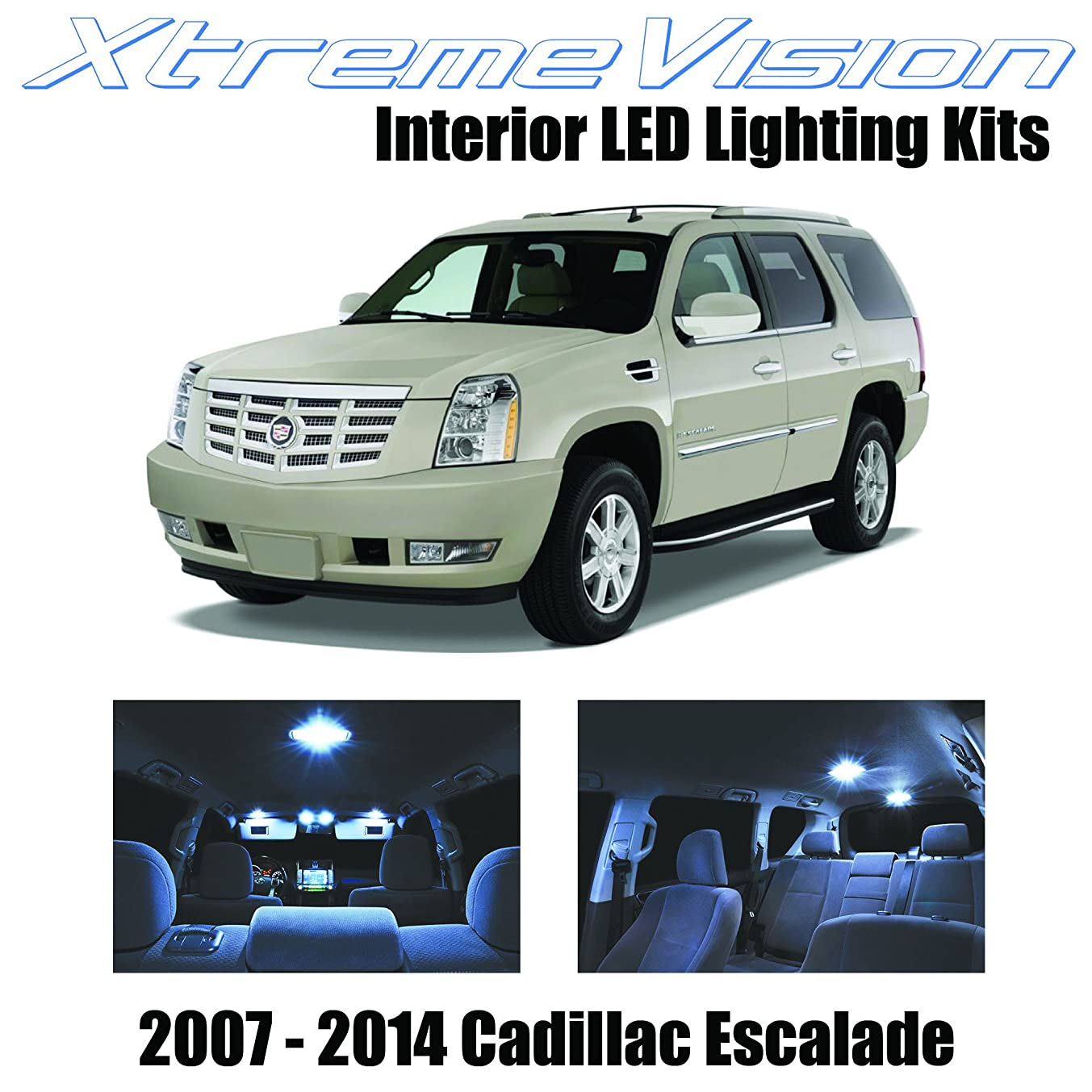 XtremeVision Interior LED for Cadillac Escalade 2007-2014 (16 Pieces) Cool White Interior LED Kit + Installation Tool