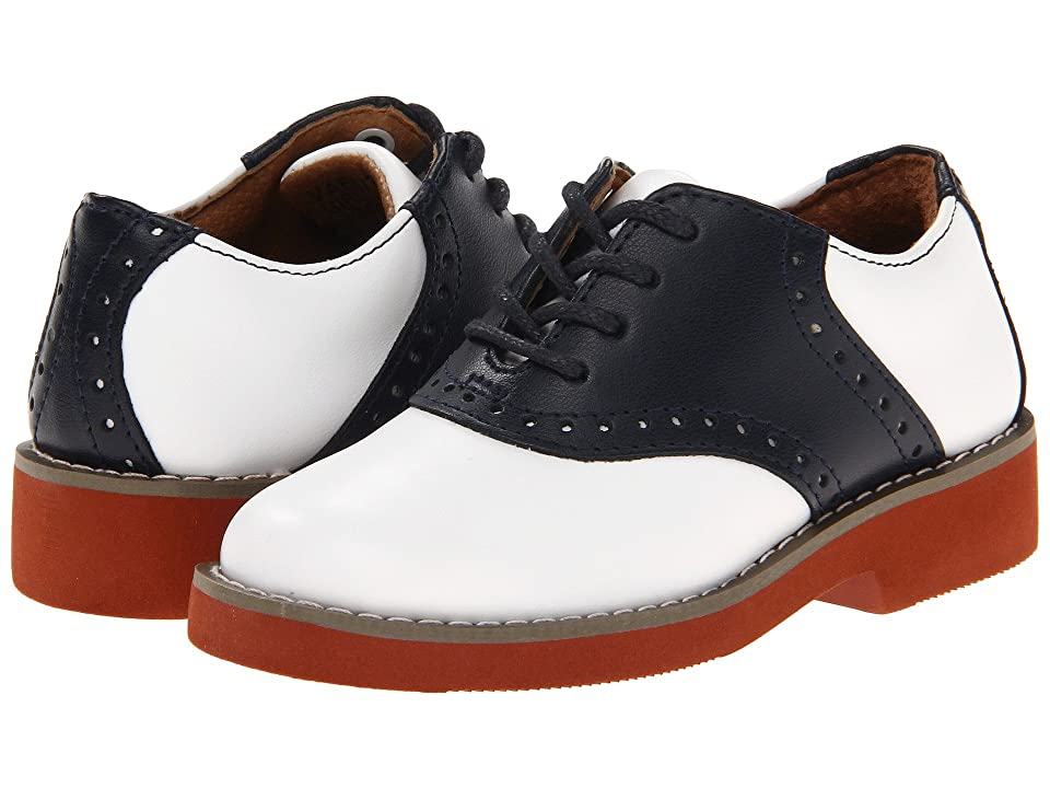 1930s Style Shoes – Art Deco Shoes Kids School Issue Upper Class ToddlerLittle KidBig Kid WhiteNavy Leather Girls Shoes $52.95 AT vintagedancer.com