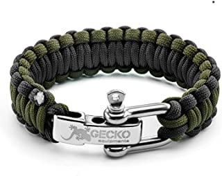 GECKO EQUIPMENT Army Green/Black King Cobra Paracord Survival Bracelet with Adjustable Stainless Steel D Shackle - Suitable for 7