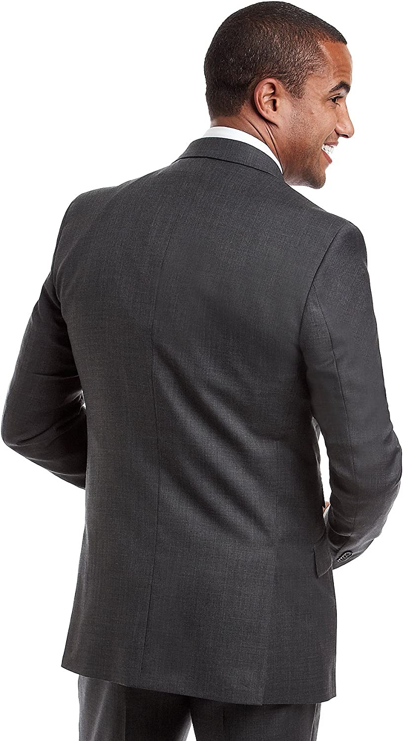 Kenneth Cole New York Men's Performance Wool Suit Separates-Custom Jacket and Pant Selection, Charcoal, 44 Regular