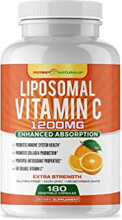 Liposomal Vitamin C 1200mg 180 Capsules by POTENT NATURALS - High Absorption, Fat Soluble Vitamin C, Collagen Booster, Ant...