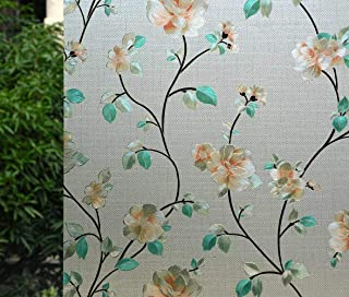 VSUDO Decorative Privacy Window Film, No Glue Static Cling Glass Sticker, Anti-UV Window Tint for Home or Office(Living Room/Bathroom/Kitchen/Front Door)(1Roll, 17.7