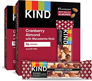 KIND Bars, Cranberry Almond Plus Antioxidants with Macadamia Nuts, Gluten Free, Low Sugar, 1.4 Ounce Bars, 24 Count