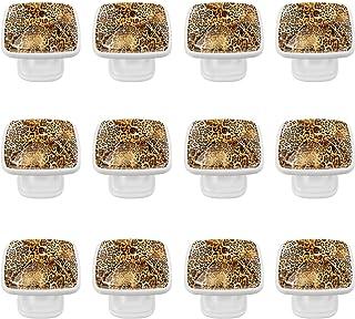 Boutons D'armoire 12 Pcs Poignés Poignée De Champignons Porte Poignées avec Vis pour Cabinet Tiroir Cuisine,Léopard rayé