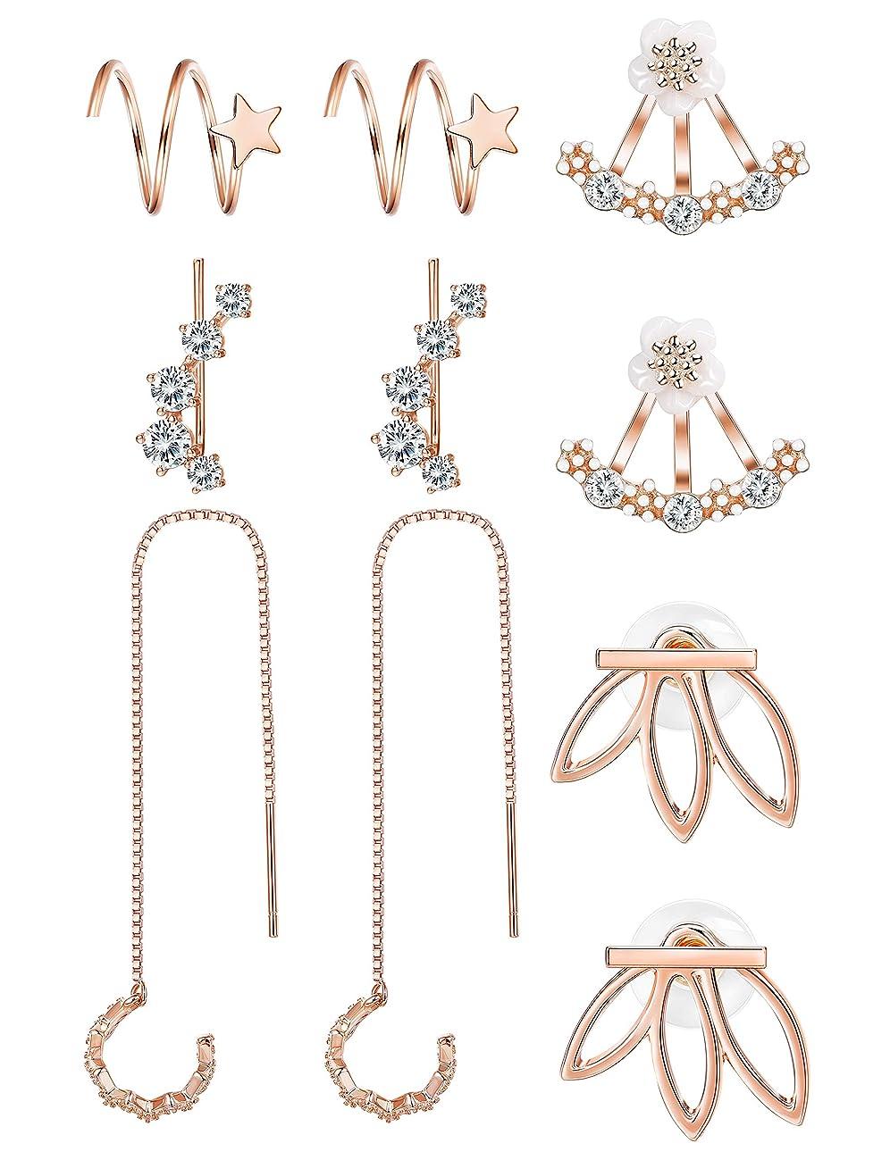 FIBO STEEL 5-12 Pairs Threader Ear Cuff Earrings for Women Girls Star Wrap Earrings Ear Lotus Stud Earrings Jackets Set