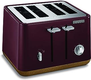 Morphy Richards Aspect Cork Toaster 4 Slice Toaster, Maroon, 240017