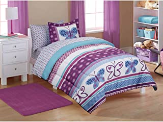Twin Size Coordinated Bed in a Bag Kids' Purple Butterfly