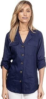 CAMIXA Women's Linen Button-Down Two Pockets Shirt Go Casual Chic