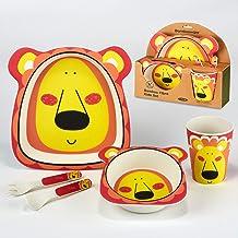 Certified International Lion 5-piece Eco Friendly Bamboo Fiber Children's Dinnerware Set, Multicolored