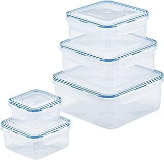 Lock & Lock HPL980CLQ5 Easy Essentials Storage Food Storage Container Set / Food Storage Bin Set - 10 Piece, Clear