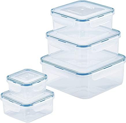 Lock & Lock HPL980CLQ5 10-Piece Food Plastic Storage Container Set, Clear