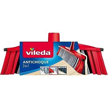Vileda - Recambio cepillo antichoque 3 en 1, 3 tipos de cerdas distintas, apto para todas las superficies, color rojo y negro