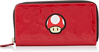 Official Licensed Ladies Super Mario Mushroom Zip Around Red Clutch Purse