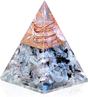 New Inspirational Orgonite Pyramid for Success   Rainbow Moonstone Orgone Pyramid for Anti-stress - Calmness – Growth – Strength – Healing Crystal Gemstone Pyramid