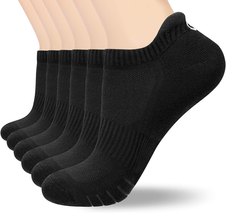 coskefy Running Socks Cushioned Trainer Socks for Men Women Ladies Anti Blister Sports Socks Cotton Ankle Socks Low Cut Athletic Walking Socks (6 Pairs/3 Pairs)
