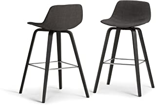 Simpli Home Randolph Mid Century Modern Bentwood Counter Height Stool (Set of 2) in Charcoal Grey, Black Linen Look Fabric