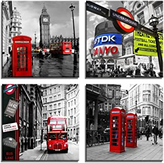 Yin Art 4 pcs Black and White Modern Buildings Canvas Wall Art Big Ben and Red Telephone Booth in London