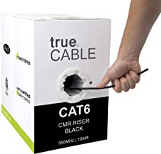 Cat6 Riser (CMR), 1000ft, Black, 23AWG 4 Pair Solid Bare Copper, 550MHz, ETL Listed, Unshielded Twisted Pair (UTP), Bulk Ethernet Cable, trueCABLE