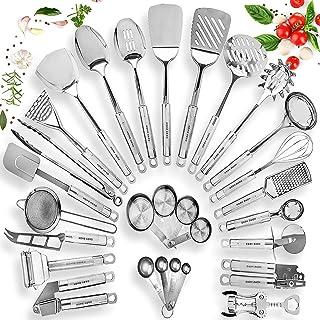 HOME HERO Stainless Steel Kitchen Utensil Set - 29 Cooking Utensils - Nonstick Kitchen Utensils Cookware Set with Spatula ...