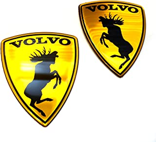 Alstickers! 30 Years Warranty! 3D Aluminum-polyutethane car Stickers Prancing Moose (ELK) Volvo Set 2 Pieces Glossy, Size 2.28