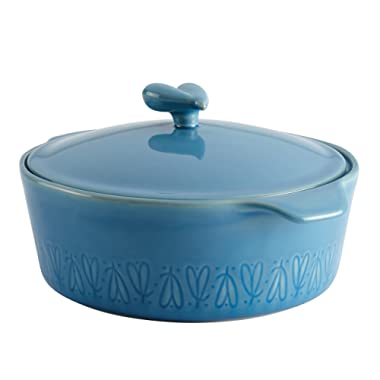 Ayesha Curry Ceramics Dish/Casserole Pan with Lid, 2.5 Quart, Twilight Teal Blue