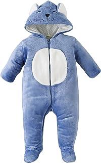 LOFELMELT Ropa de dormir de bebé para niña niño niño animal con capucha forro polar traje de nieve con pies