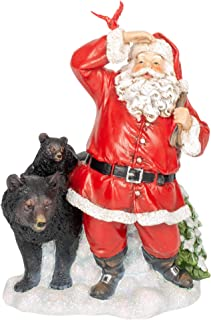 Red Suit Santa Clause with Black Bears 9.25 Inch Resin Stone Holiday Tabletop Figurine