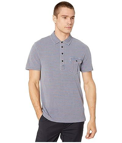 J.Crew Indigo Pique Passyunk Stripe Short Sleeve Pocket Polo (Indigo Brick Passyunk Stripe) Men